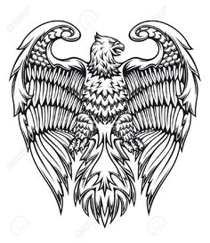 Illustration of Powerful eagle or griffin in heraldic style vector art, clipart and stock vectors. Free Vector Illustration, Vector Art, Eps Vector, Free Illustrations, Animal Coloring Pages, Adult Coloring, Colouring, Coloring Books, Greif Tattoo