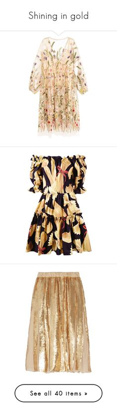 """""""Shining in gold"""" by lujzazsu ❤ liked on Polyvore featuring dresses, ruching dress, longsleeve dress, embroidery dresses, shirred dress, long sleeve mesh dress, black, short flared skirt, fitted summer dresses and summer dresses"""