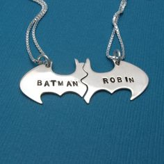 Batman and Robin Best Friend necklace set Personalized in sterling silver.    Customizable Batman And Robin sterling silver best friend necklaces.   www.aftcra.com