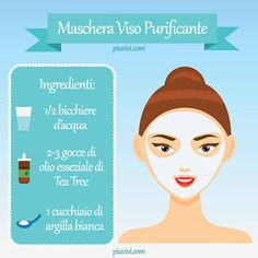 Maschera Viso Purificante - hairs, nails and beautyPurifying Face Mask with White Clay and Tea Tree Essential Oil. Homemade Face Wash, Homemade Skin Care, Homemade Tea, Skin Mask, Face Skin, Huile Tea Tree, Skin Brightening, Good Skin, Make Up