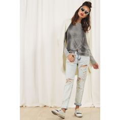 GLAMOROUS BLEACH DISTRESSED JEANS (445 DKK) ❤ liked on Polyvore featuring jeans and blue