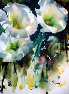 I love this watercolor flower painting with hints of color and great lighting! Easy Watercolor, Watercolor Artists, Watercolour Painting, Watercolor Flowers, Watercolours, Art Floral, Iris Art, Art Aquarelle, Flower Art