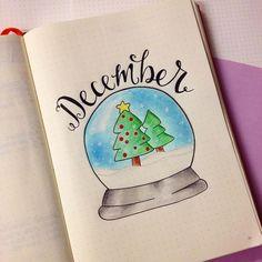 Creative Inspiration: December bullet journal Monthly Header // Bujo Month header Spread // planner art ideas for winter #bujoheaders #bulletjournalmonthly