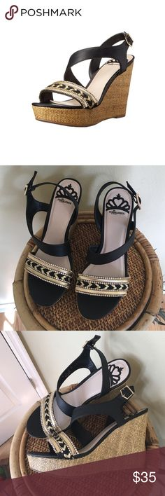 """FERGALICIOUS SANDALS/WEDGES Brand new without box.  Such a cute shoe!!  This is a strappy wedge with an adjustable strap, a 1"""" platform, 4.5"""" heel.  All manmade materials.  Lightly cushioned footbed.TRADES LOWBALL OFFERS (1st photo is a stock photo) Fergalicious Shoes Wedges"""