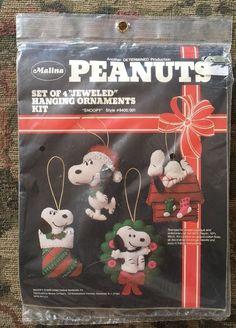 "Malina Peanuts Snoopy ""Jeweled"" Christmas Ornament Kit 8400 New Unopened #Malina"