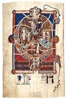 First Full-Page Partially Painted Initial From the Tickhill Psalter Nottinghamshire, England, after 1303–ca. 1314 12 13/16 x 8 3/4 in. (32.6 x 22.2 cm) New York Public Library, New York, Spencer 26