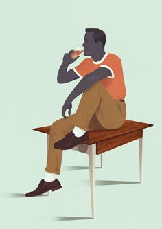 Illustration Example, Flat Illustration, Character Illustration, Atlas Shrugged, Man Character, Man Smoking, Unique Logo, Freelance Illustrator, Ely