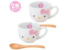 Hello Kitty Mug Cup Set with Bamboo Spoon SANRIO JAPAN