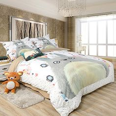MeMoreCool New Arrival! Cartoon Totoro 3 Pieces Bedding Set 100% Cotton Cute Totoro Duvet Cover Kids Anime Bedding MeMoreCool http://www.amazon.com/dp/B014JH8FQ0/ref=cm_sw_r_pi_dp_M-Kcxb10TF447