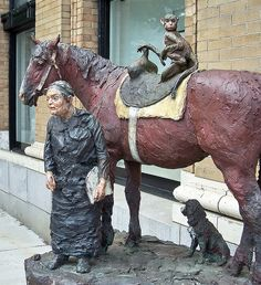 Emily Carr and Friends, a sculpture by Joe Fafard located beside the Heffel Gallery on South Granville in Vancouver, BC