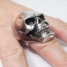Stainless Steel Big Heavy Skull Men Biker Ring|Amazon.com