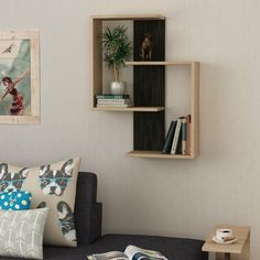 50%SALE-Shop Online-Buy Now-Decortie PARA Home, Office Wall Book Shelf. Modern Bookcase in white, grey, oak, mocha, turquoise colours. Express Delivery for UK..