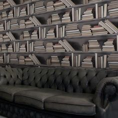FAKE BOOK NOOK....bookshelf wallpaper designed by Young & battaglia also made in England super cool