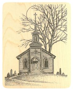 "{Single Count} Unique & Custom (3 1/2"" by 4 1/4"" Inches) ""Creepy Country Church Night Scene"" Rectangle Shaped Genuine Wood Mounted Rubber Inking Stamp"