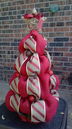 Red Burlap Christmas Tree Holiday Centerpiece by DecktheCottage, $50.00