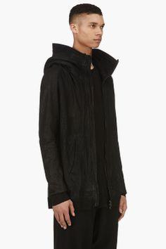 MA JULIUS Black perforated leather JACKET