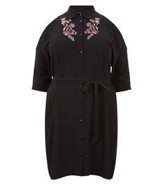 Curves Black Embroidered Cold Shoulder Dress | New Look