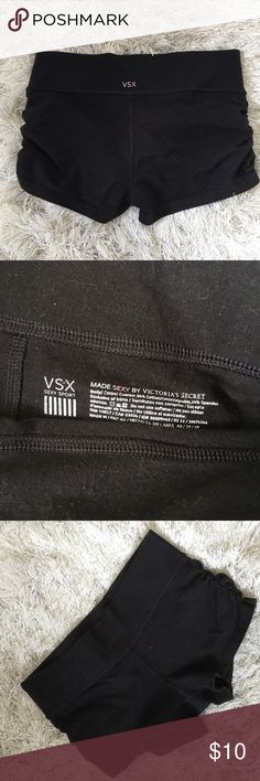 Victoria Secret workout shorts. Perfect condition. VSX workout shorts black with scrunching on the sides. Victoria's Secret Shorts