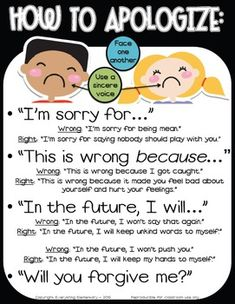 Promote empathy and apology of action with this How to Apologize/Say Sorry poster packet to support character education in your classroom. Improve classroom management, teach your students to use positive language, and build a safe and nurturing classroom Classroom Behavior, School Classroom, Classroom Environment, Classroom Ideas, Growth Mindset Classroom, Kids Behavior, Behaviour Management, Classroom Management, Class Management