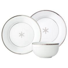 Threshold™ Snowflake with Silver Trim Dinnerware set of 12 ... Holiday China