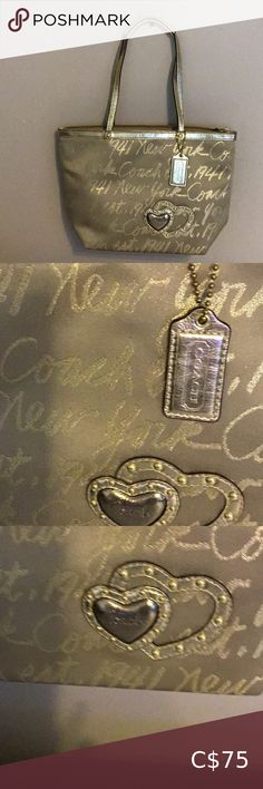 Coach Gold Script Handbag F17097 Coach Gold Scripted Handbag 100 % Authentic Condition 9/10 Beautiful little Gem Coach Bags Shoulder Bags Coach Satchel, Coach Shoulder Bag, Canvas Shoulder Bag, Coach Bags, Shoulder Bags, Michael Kors Designer, Michael Kors Tote, Black Coach Purses