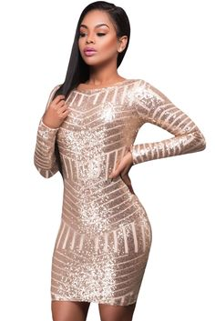 2017 Autumn New Arrivals Sexy Bodycon Club Dresses For Women Gorgeous Long  Sleeves Cut out Bare Back Sequin Dress 0b56ca2a0d17