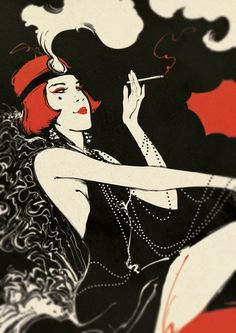 The Roaring Twenties Retro, vintage style poster - Illustrated by Boris Pelcer.
