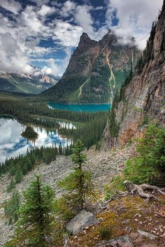 OH Canada!Mary Lake and Lake O'Hara with Wiwaxy Peaks, Yoho National Park, British Columbia, Canada Yoho National Park, Parc National, National Parks, British Columbia, Places To Travel, Places To See, Travel Destinations, Landscape Photography, Nature Photography