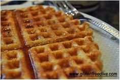 """Ellen @gfdiva has been making #glutenfree #dairyfree #eggfree waffles from Iris at @dailydietribe ... I have made them before and I can personally attest to how fabulous they are! FYI: """"A waffle is a pancake with a syrup trap"""" ~ Mitch Heberg"""