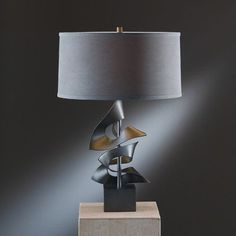 """Hubbardton Forge Gallery 24.7"""" Table Lamp Finish: Natural lron, Shade Color: Eclipse Micro-suede"""
