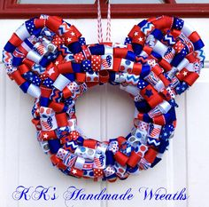 Patriotic Mickey Ribbon Wreath by KKsHandmadeWreaths on Etsy, $30.00