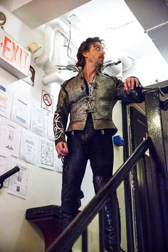 Christian Borle backstage at Something Rotten!