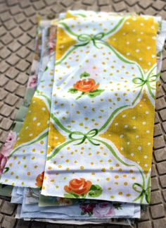 Napkins from vintage sheets! Why didn't I think of this? They are perfectly aged and therefore absorbent, very cute, and easy to clean.