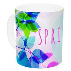 East Urban Home Seasons Springtime by Sreetama Ray 11 oz. Rainbow Leaves Ceramic Coffee Mug