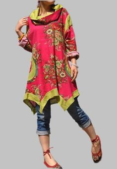 totally in love w/this bright floral tunic...pair of jeans & a flat...