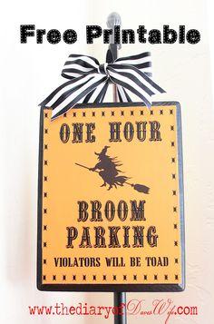 Broom Parking { Free Printable}