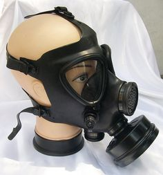 All Black Fully Functional Apocalyptic, Futuristic Full Face Israeli Military Survival Gas Mask with Filter - A BURNING MAN Must Have. $45.50, via Etsy.