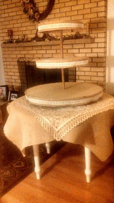 Country rustic cupcake stand. Burlap and lace