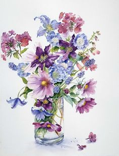 'Clematis and Cosmos' Photographic Print by Ann Mortimer - Watercolour painted with Winsor and Newton Artists watercolours on paper. Art Floral, Floral Prints, Watercolor And Ink, Watercolour Painting, Watercolor Flowers, Painting & Drawing, Watercolors, Watercolour Tutorials, Fruit Art