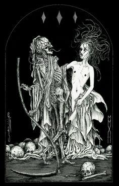 scribe4haxan:Der Tod und das Mädchen (2012 / China ink on paper)...