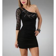 Sale-Black Single Shoulder Sleeve Dresses ($10) ❤ liked on Polyvore featuring dresses, sleeved dresses, one shoulder dress, three quarter sleeve cocktail dress, fitted cocktail dresses and ruched dress