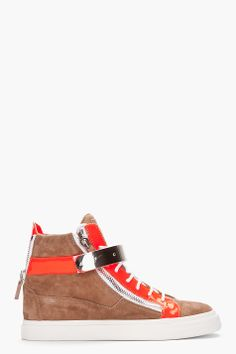 Giuseppe Zanotti Beige And Neon Orange London Sneakers