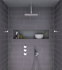 Recess in wall of shower or next to bath.