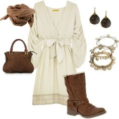 Flowy, billowy white dress with cowboy-brown accessories.
