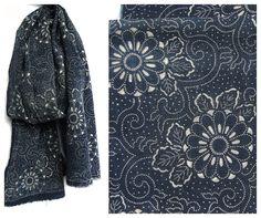 Antique Indigo Cotton Japanese Katazome Textile by FurugiStar