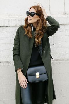 Le Fashion Blog Ways To Wear Green Jacket Fall Winter Blogger Style Coat Cat Eye Sunglasses Sweater Cross Body Bag Leather Pants Via Could I Have That