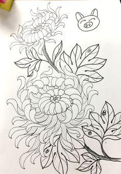 J Tattoo, New Tattoos, Oriental Flowers, Japan Tattoo, Embroidery Fashion, Chrysanthemum, Traditional Tattoo, Flower Tattoos, Watercolor Flowers