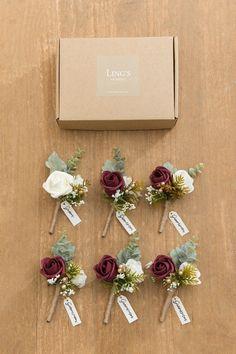 Diy Wedding Bouquet, Corsage Wedding, Floral Wedding, Rustic Wedding Boutonniere, Burgundy Wedding Flowers, Burgendy Wedding, November Wedding Flowers, Fake Wedding Flowers, Burgundy Bouquet