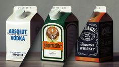 """""""How would products of great brands of alcoholic spirits look like, if they were packed in beverage cartons instead of their prominent bottles? Times are changing, what remains of the brand?"""" / from """"Ecohols"""" by Jørn"""