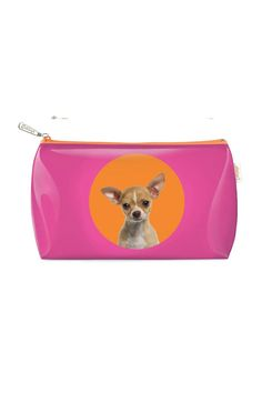"""It's bath night for this pup! The Spot Chihuahua Wash Bag is strong and glossy with waterproof sides and a tough yet funky zip. This bubbly bag keeps your shampoo shipshape your razor ready and your toothpaste tip-top. Fetch your fanciest potions and get doggone opulent!  One Size: H7"""" W12""""  Chihuahua Wash Bag by Catseye London. Bags - Cosmetic Pouches New York"""